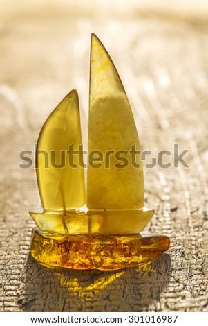 amber, sailing ship - stock photo