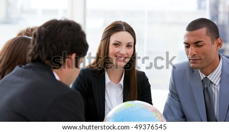 Ambitious business team having a brainstorming about expansion in a company - stock photo