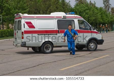 ambulance and physician - stock photo
