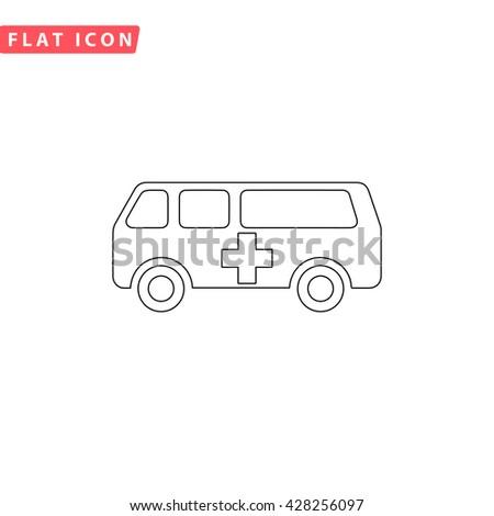 Ambulance. Black outline simple pictogram on white. Line icon - stock photo