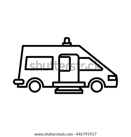 Ambulance icon in outline style isolated on white background - stock photo