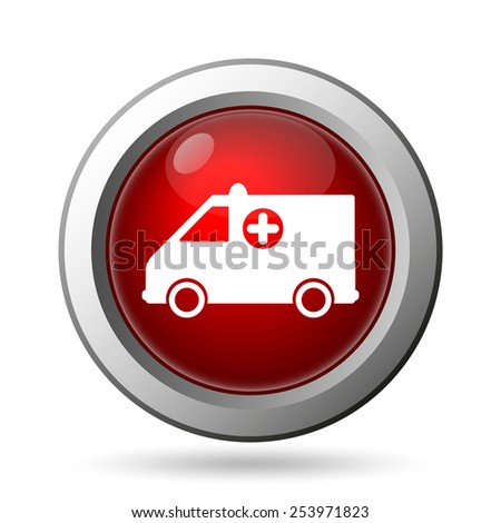 Ambulance icon. Internet button on white background.  - stock photo