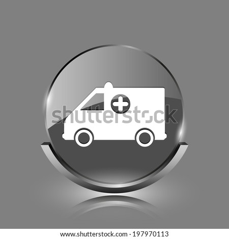 Ambulance icon. Shiny glossy internet button on grey background.  - stock photo