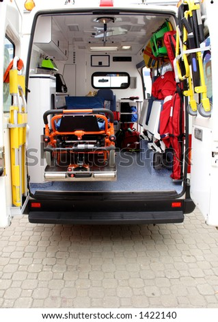 Ambulance interior details. Emergency equipment and devices visible - stock photo