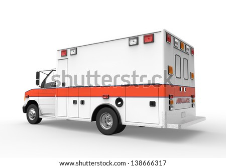 Ambulance Isolated on White Background - stock photo