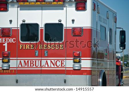 Ambulance on the road - stock photo