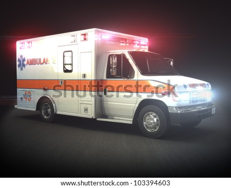 Ambulance with lights ,Part of a first responder series. - stock photo