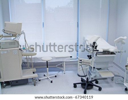 Ambulance with ultrasound equipment - stock photo