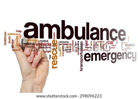 Ambulance word cloud - stock photo