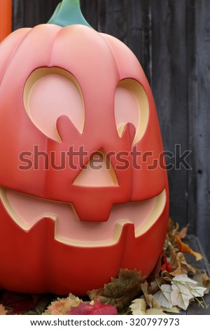 America,American,Halloween, street decoration, Horror Nights,Pumpkin lantern - stock photo