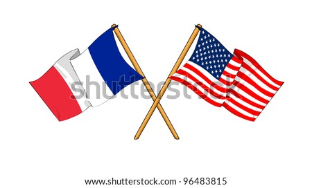 America and France alliance and friendship - stock photo