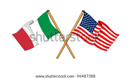 America and Italy alliance and friendship - stock photo