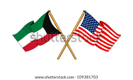 America and Kuwait alliance and friendship - stock photo