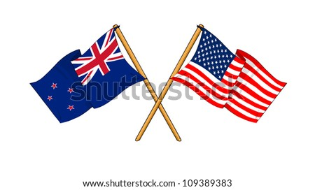 America and New Zealand alliance and friendship - stock photo