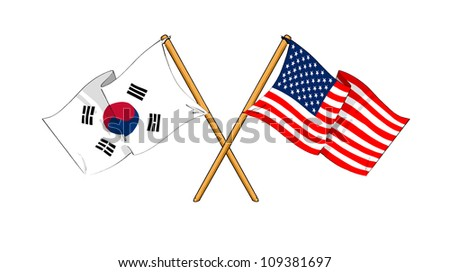 America and South Korea alliance and friendship - stock photo