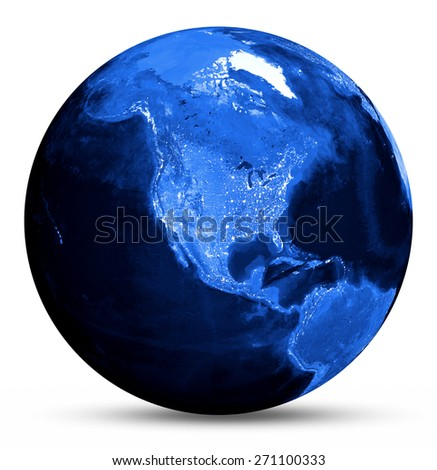America blue map. Elements of this image furnished by NASA - stock photo