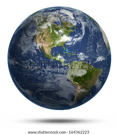 America continent map. Earth globe model, maps courtesy of NASA - stock photo