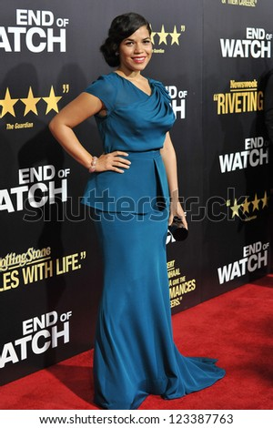 "America Ferrera at the premiere of her movie ""End of Watch"" at the Regal Cinemas LA Live. September 17, 2012  Los Angeles, CA Picture: Paul Smith - stock photo"