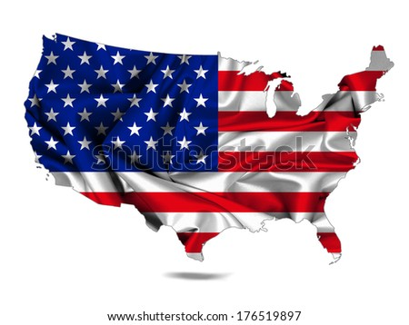 America flag map fabric and white background - stock photo