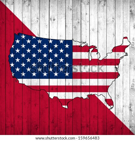 America, flag map,red and white wood background - stock photo