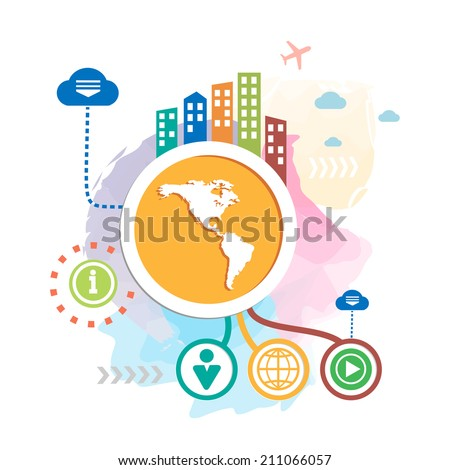 America map and city on abstract background. Raster version for the web, print, advertising. - stock photo