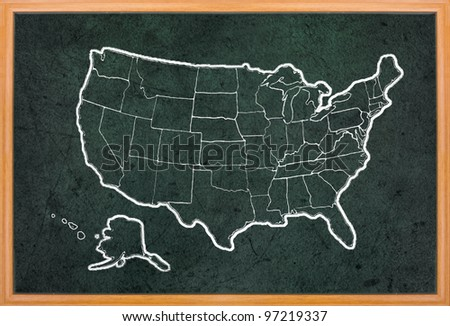 America map draw on grunge blackboard with wooden frame - stock photo