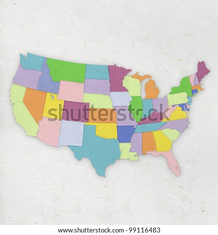 America map on hand made paper - stock photo