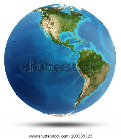 America real relief and water. Elements of this image furnished by NASA - stock photo