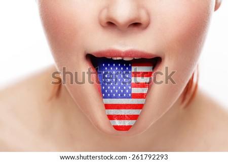 America tongue language open mouth - stock photo