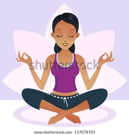 American african woman doing a Yoga meditation - stock photo