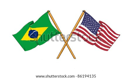 American and brazilian alliance and friendship - stock photo