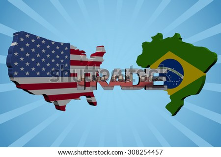 American and Brazilian map flags with trade text illustration - stock photo