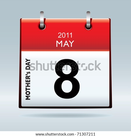 American and canadian mothers day for 2011 on calendar icon - stock photo