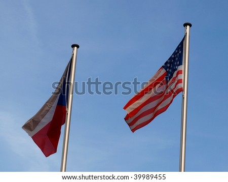 American and Czech flag - stock photo