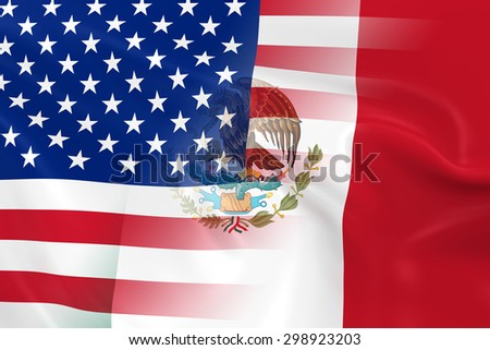 American and Mexican Relations Concept Image - Flags of the USA and Mexico Fading Together - stock photo