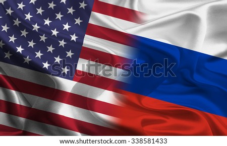 American and Russian flags joining together concept - stock photo