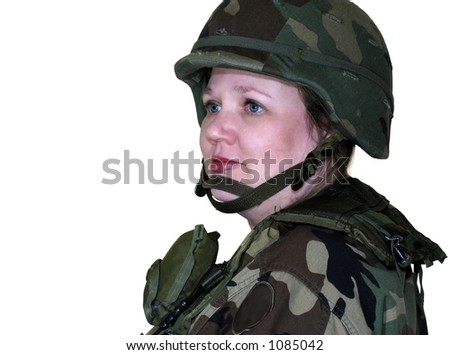 American Army woman isolated on white - stock photo