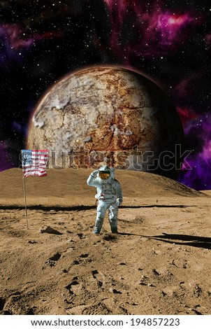American Astronaut lands on an alien moon with alien planet in background. Elements of this image furbished by Nasa. - stock photo