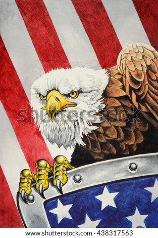 American bald eagle with a shield on the flag of the United States of America in the background. Watercolor illustration. - stock photo