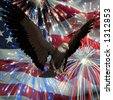 American Bald Eagle with the United States flag and fireworks in the background - stock photo