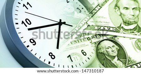 American banknotes. Clock. Time is money concept  - stock photo