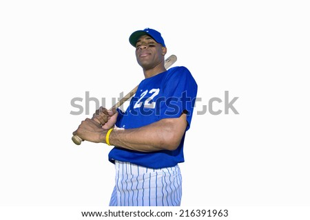 american baseball player with baseball bat, cut out - stock photo