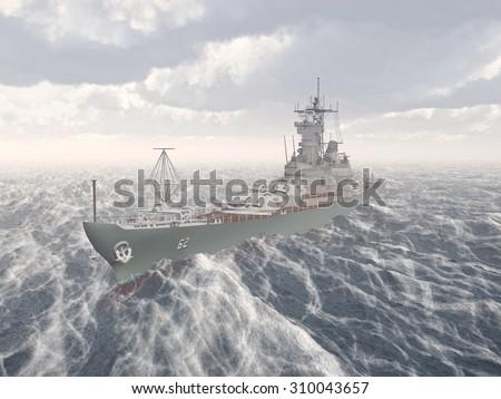 American battleship of World War II Computer generated 3D illustration - stock photo
