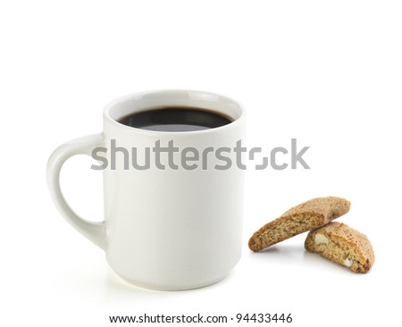 american black coffee with italian cookie isolated on white - stock photo