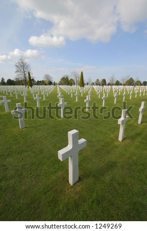 American Cemetery at Normandy in Colleville-sur-Mer, France. The cemetery overlooks Omaha Beach. - stock photo