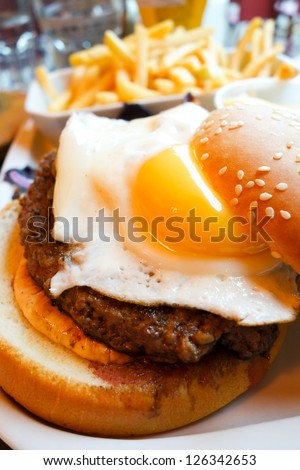 American cheese burger with fresh salad - stock photo
