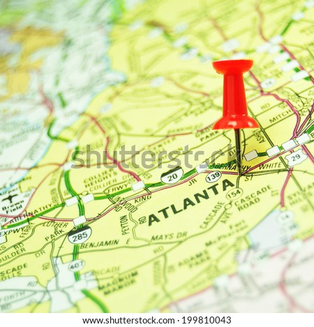 American cities: Atlanta marked with red pin on US map - stock photo