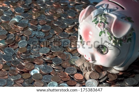 American coins and a piggy bank - stock photo