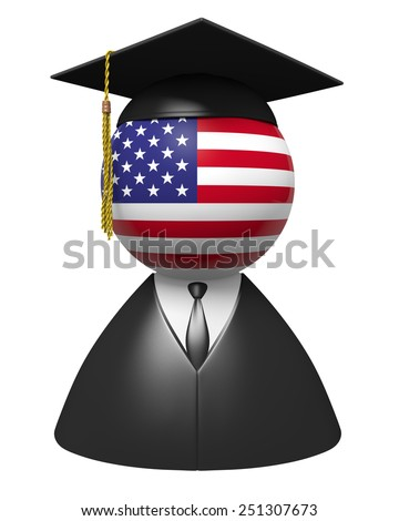 American college graduate concept for schools and education - stock photo