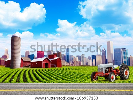 American Country with Blurred Big City in Background - stock photo